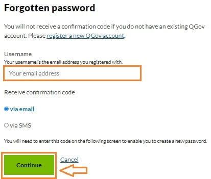 QGov account change password
